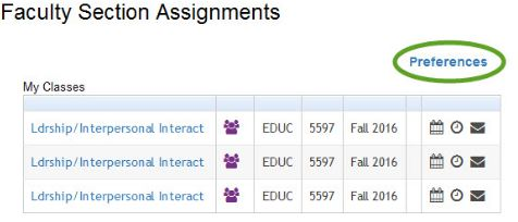 Faculty Section Assignments My Classes page